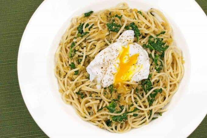 Spaghetti with Toasted Garlic Crumbs, Spinach and Egg