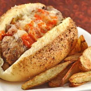 Spanish Meatball Subs with Roasted Red Pepper Sauce