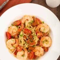 Spanish Spaghetti with Shrimp