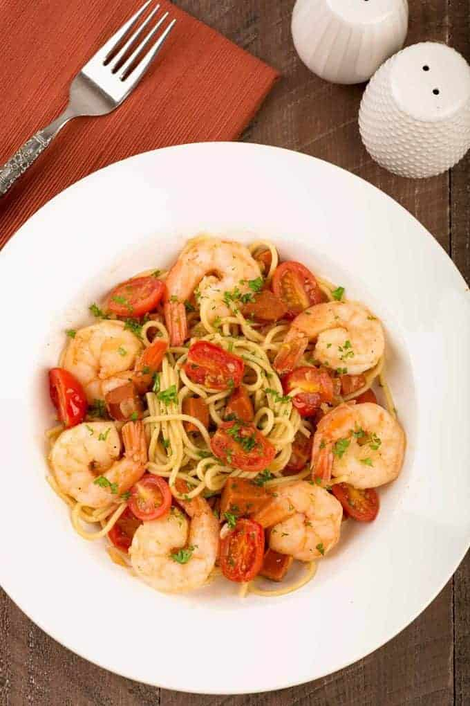 Spanish Spaghetti with Shrimp