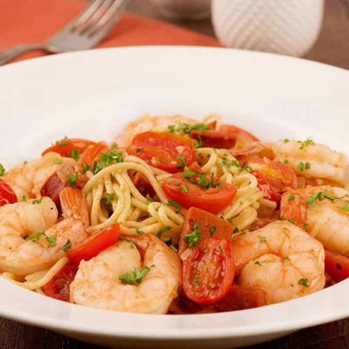 Spanish Spaghetti with Shrimp and Chorizo