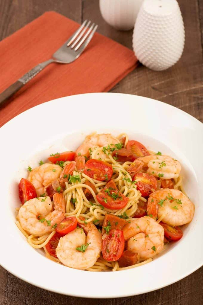 Spaghetti with Shrimp, Chorizo and Sherry