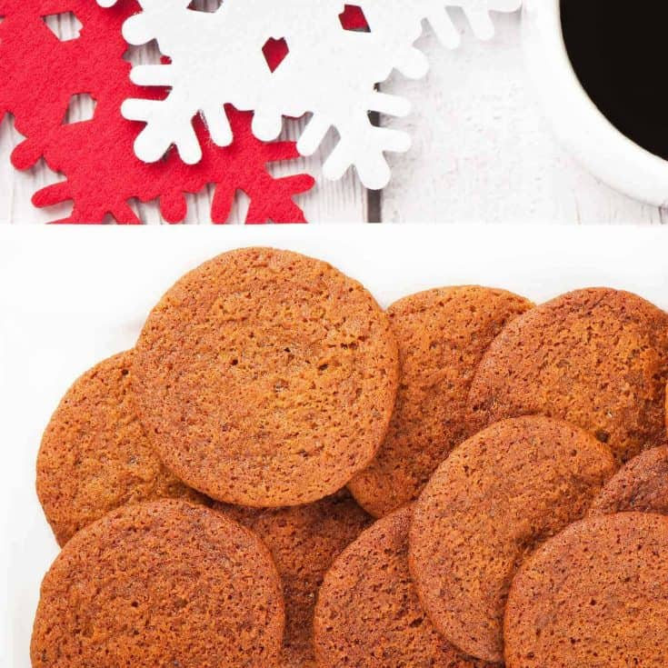 These delicious spice cookies have the most wonderful aroma and bake up thin, with a slightly chewy texture and a subtle buttery flavor. #christmascookies #spicecookies #molassescookies