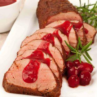 Spiced Pork Tenderloin with Cranberry-Cider Sauce