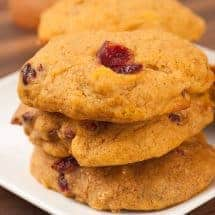 Spiced Pumpkin, Orange And Cranberry Cookies