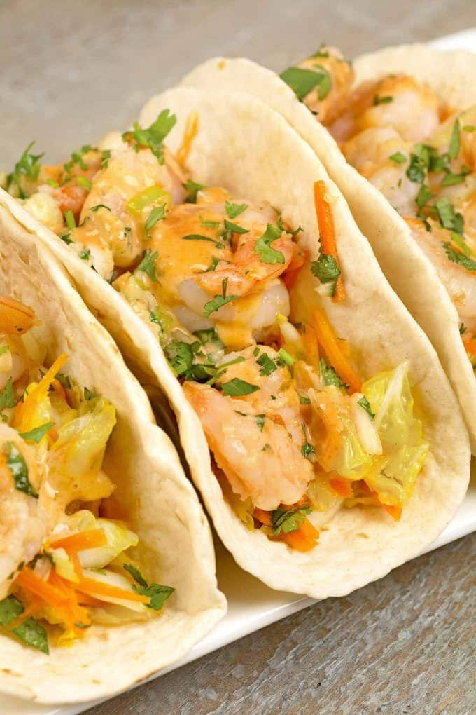 Stir-Fried Shrimp Tacos with Sriracha May