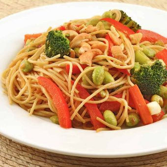 Spicy Edamame Noodle Toss