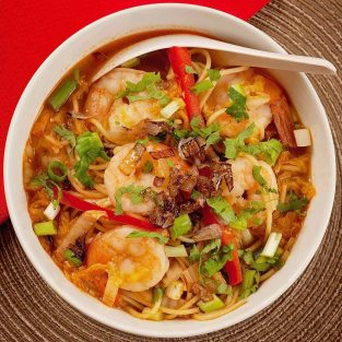 Spicy Shrimp and Ramen Soup