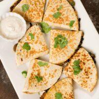 Spinach, Mushroom and Cheese Quesadillas