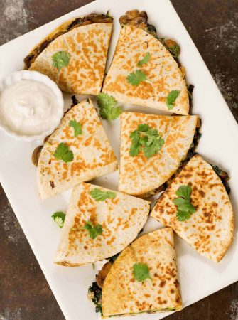 Spinach, Mushroom and Cheese Quesadillas