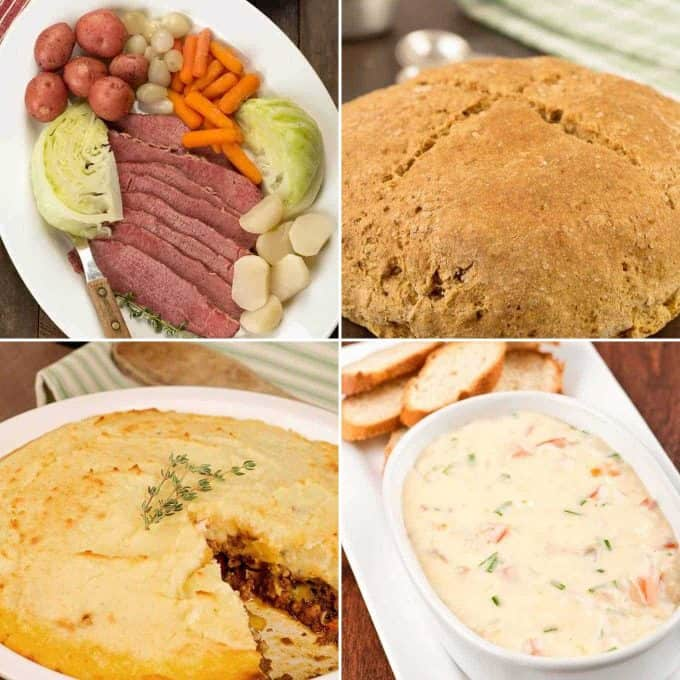 Corned beef and cabbage, Irish soda bread, shepherd's pie, Dubliner cheese dip
