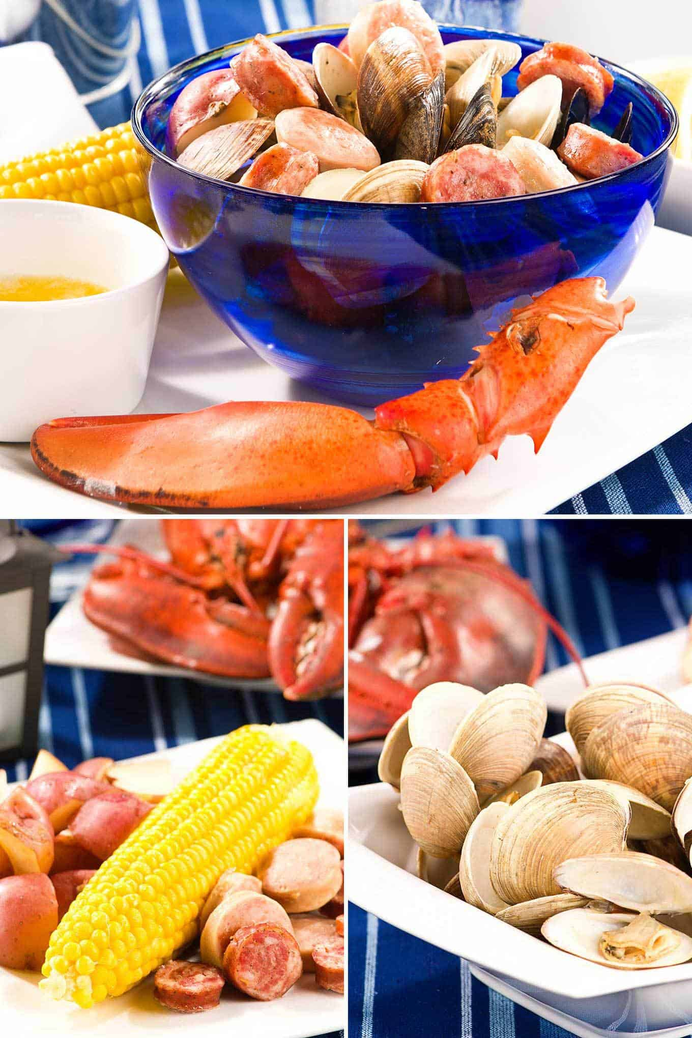 Collage photo of stovetop clambake ingredients including corn, potatoes, sausage, melted butter, and steamed clams.