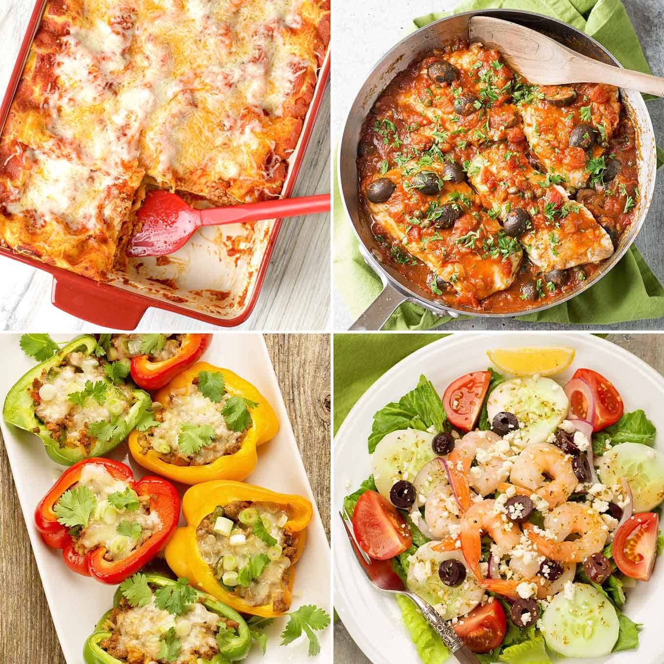 Collage featuring sausage lasagna, fish puttanesca, Mexican stuffed peppers, and classic Greek salad with shrimp.