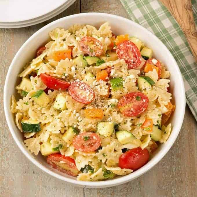 Pasta salad in a serving bowl