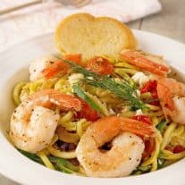 Summer Squash Noodles with Shrimp and Dill