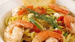 Zucchini Noodles with Shrimp and Dill