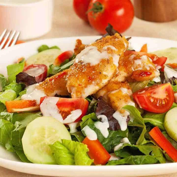 Sweet Chili Chicken Salad with Blue Cheese Ranch Dressing