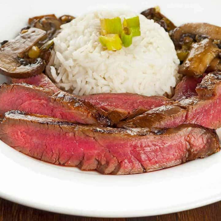 Sweet Soy-Marinated Flank Steak with Mushrooms