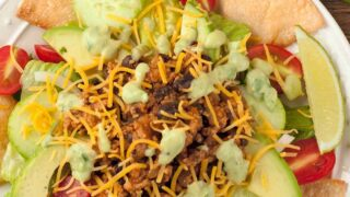 Taco Salad with Avocado Dressing
