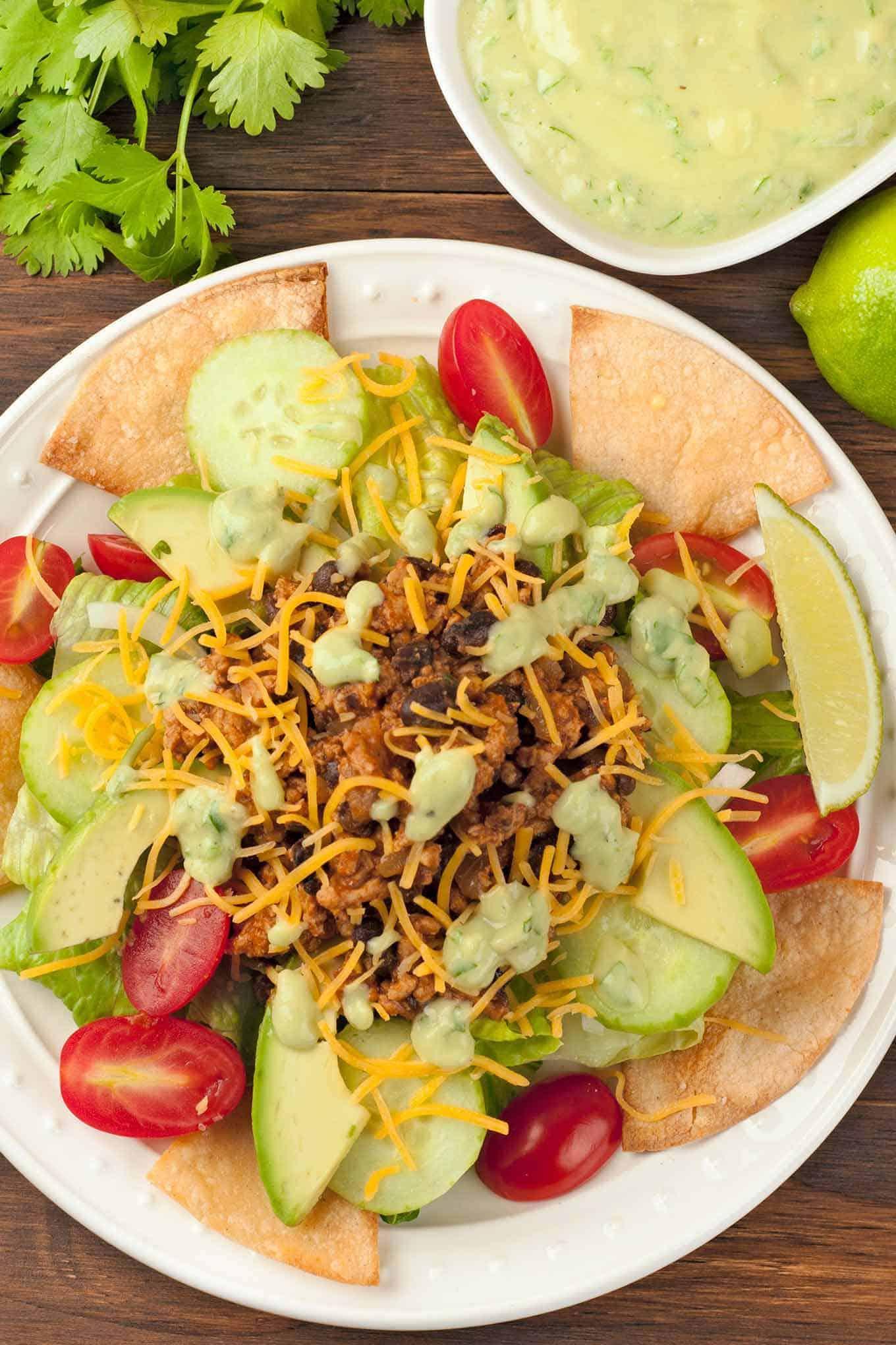 Taco Salad with Avocado Dressing