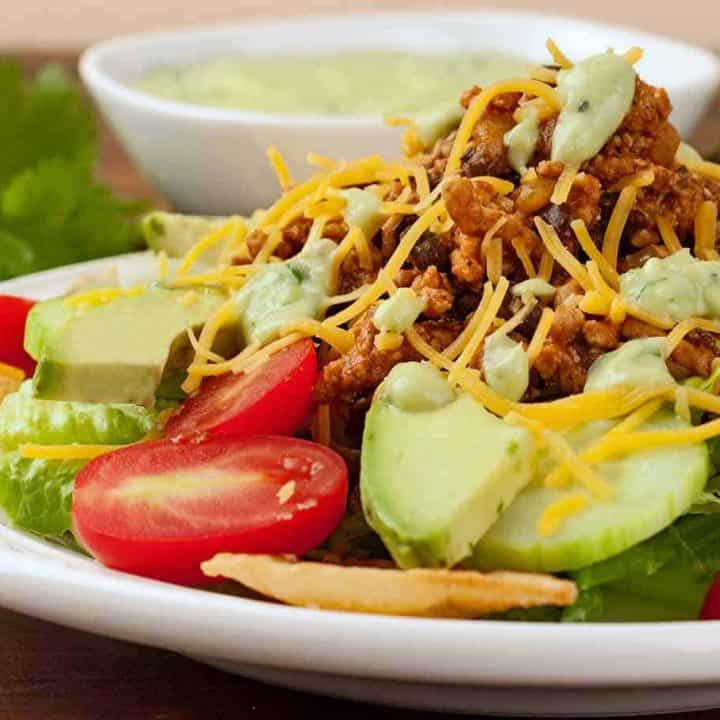 Taco Dinner Salad with Avocado Dressing