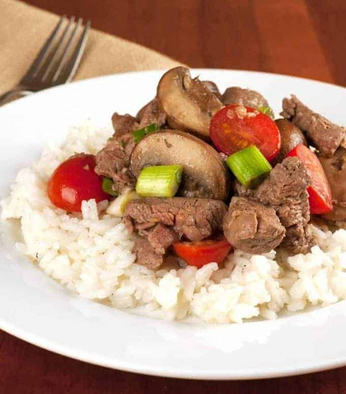 Tenderloin Tips with Garlic and Mushrooms