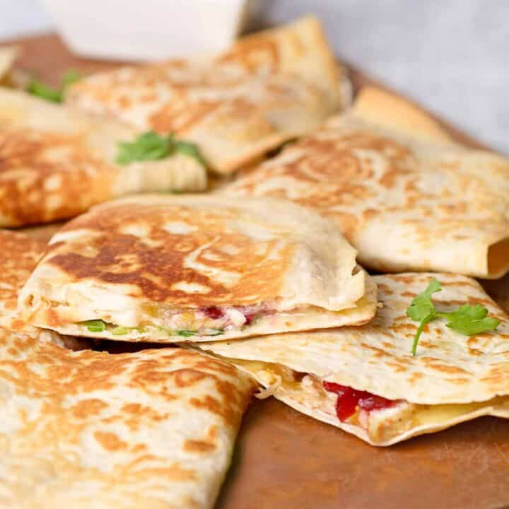 Turkey, Cranberry and Brie Quesadillas