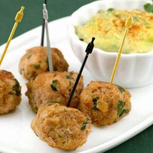 Turkey Meatballs with Avocado-Citrus Dipping Sauce