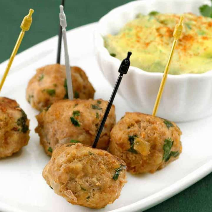 Turkey Meatballs with Avocado-Citrus Dipping Sauce