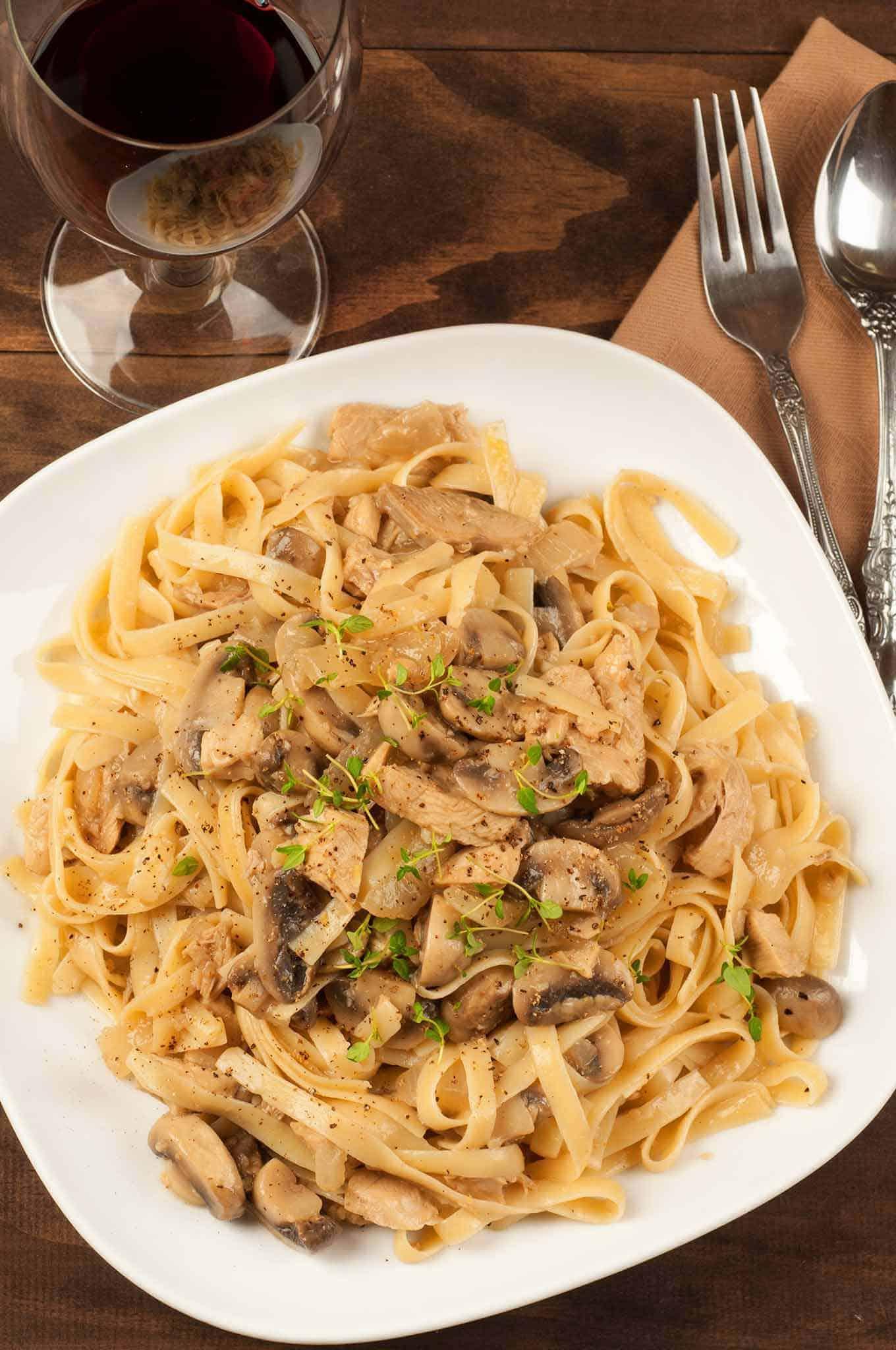 Fettuccine carbonara mushroom