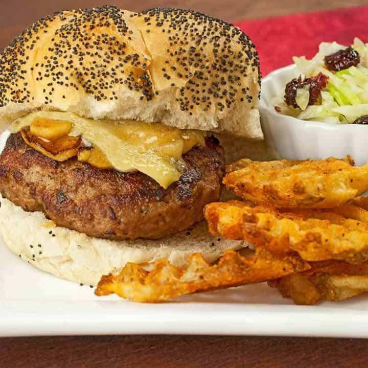 Turkey-Sage Burgers w/Sautéed Apples and Brie