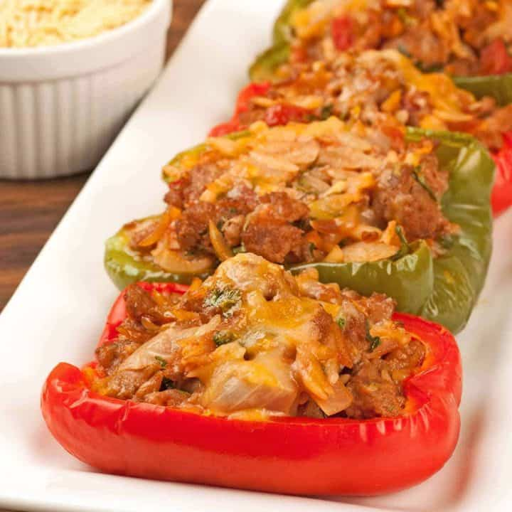 Turkey Sausage and Orzo Stuffed Peppers