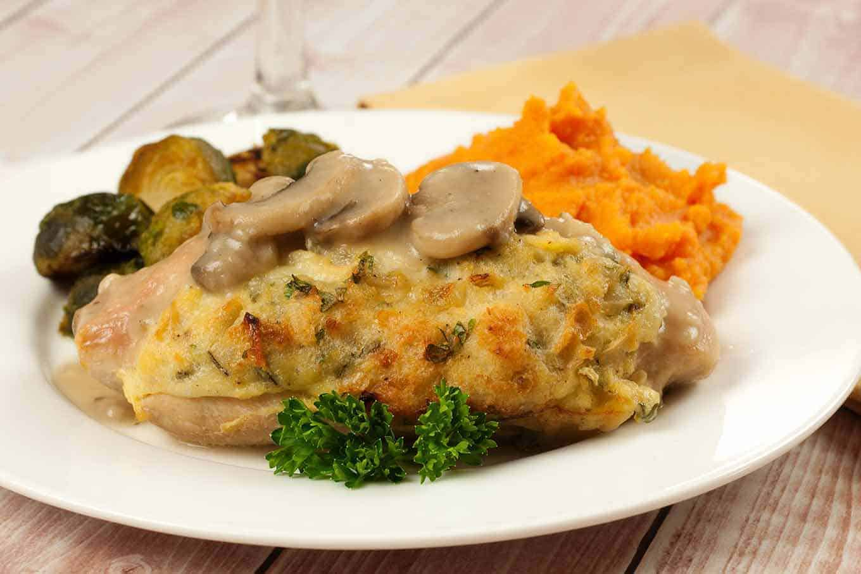 Turkey Tenderloins with Stuffing and Mushroom Gravy
