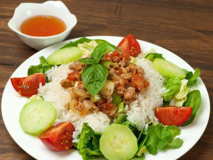 Vietnamese Ground Pork in Tomato Sauce with Nuoc Cham