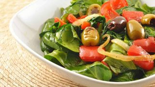 Warm Spinach Salad w/Roasted Red Peppers and Olives