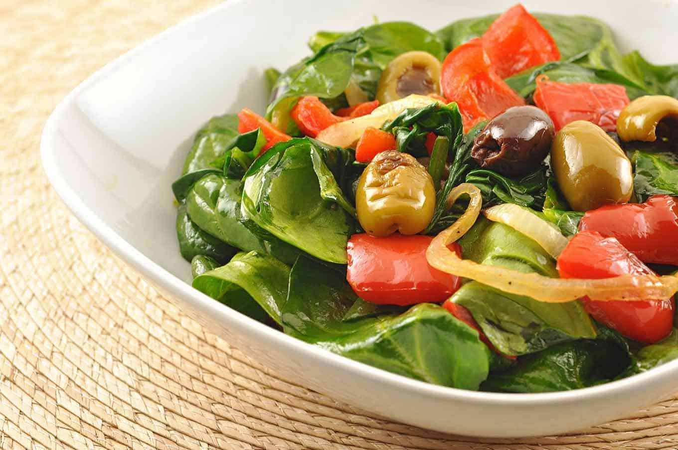 Warm Spinach Salad W Roasted Red Peppers And Olives Recipe